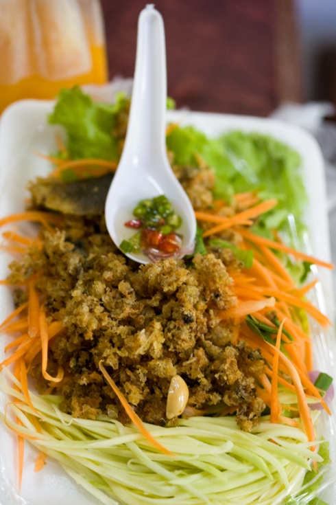 Tod yum pla muk...deep fried catfish salad with mango, peanuts and sweet/sour sauce...I can't wait to try this recipe at home!